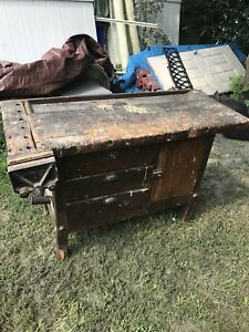 Antique Carpenters Workbench Kitchen Island Table Drawers Repurpose Primitive