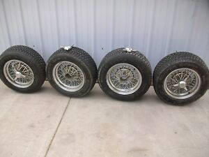 14 Cragar Tru Spoke Chrome Wire Knock Off Wheels Cooper Cobra P215 60 R14 Tires