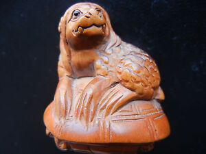 Chinese Carved Lion Wood Netsuke