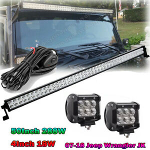 07 18 Jeep Wrangler Jk 50inch Led Light Bar W 18w Fog Pod Windshield Bracket Kit