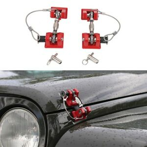 Red Hood Latch Catch Lock Bracket Latches Buckle For Jeep Wrangler Unlimited Jk