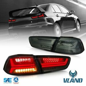 Vland For 08 18 Mitsubishi Lancer Evo X Tail Light Led Rear Lamp Smoke Audi Look