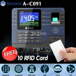 Realand A c091 Biometric Fingerprint Time Attendance Clock Tcp ip Usb 10 Cards