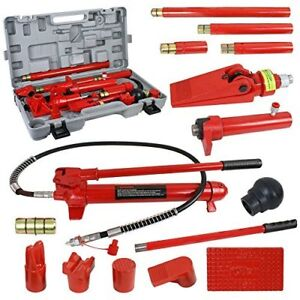 Super Deal Red Porta Power Hydraulic Jack Body 10 Ton Frame Repair Kit Auto Shop