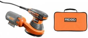 RIDGID Random Orbital Sander 5 in. Lock-On Switch Variable Speed Tool Bag