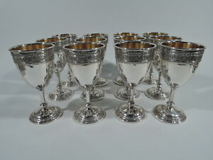 International Wedgwood Goblets P65 Antique Set American Sterling Silver