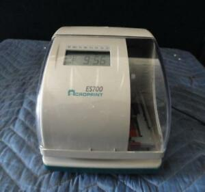Acroprint Es700 Electronic Time Clock Great Condition no Key