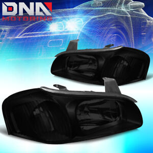 For 2000 2001 Nissan Maxima Pair Left Right Smoked Housing Headlight Lamps Set
