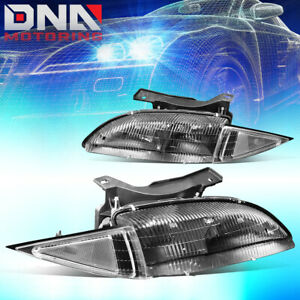 For 1995 1999 Chevy Cavalier Pair Black Housing Clear Corner Headlight lamps