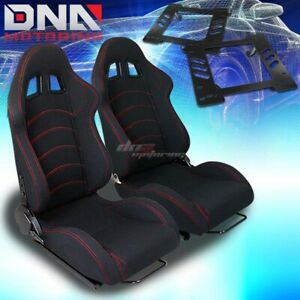 For 97 06 Jeep Wrangler Tj Bracket type 1 Black Cloth Racing Seat Reclinable X2