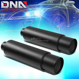 2x 3 inlet With 4 5 black Tip Performance Stainless Steel Round Exhaust Muffler