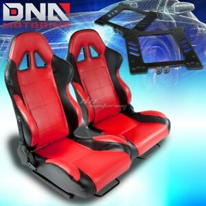 For 99 05 Golf Jetta Bracket Type 5 Black Red Woven Racing Seat Reclinable X2