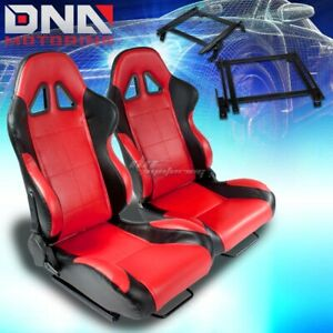 For 90 93 Integra Da Bracket Type 5 Black Red Woven Racing Seat Reclinable X2