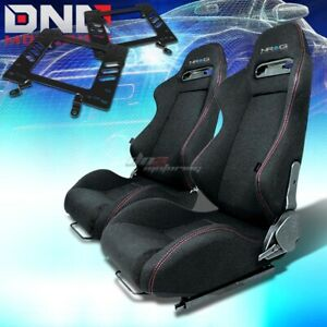 For 79 98 Mustang Mount bracket nrg Type r Black Cloth Racing Seat Reclinable X2