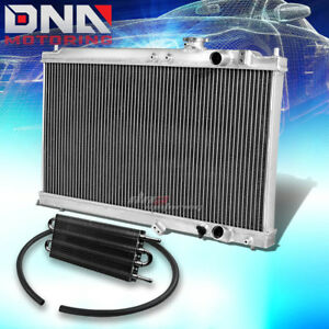 For 94 01 Acura Integra Mt 2 Row Dual Core Aluminum Radiator Black Oil Cooler