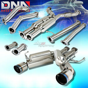 For 350z G35 Dual 4 75 Burnt Tip Hi Power Performance Catback Downpipe Exhaust