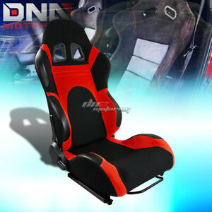 Fully Reclinable Black Red Cloth Upholstery Bucket Racing Seat Slider Rail Right