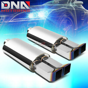 2x 2 5 inlet 3 3 8 dual Bent Burnt Tip Stainless Oval Exhaust Catback Muffler