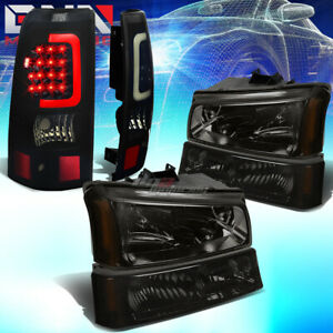 For 03 07 Silverado Smoked Headlight bumper black Tinted 3d Led Bar Tail Lamp