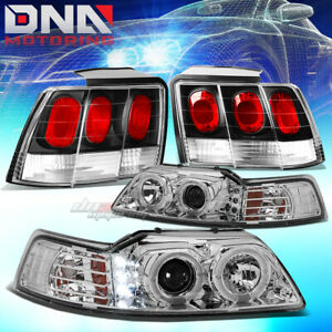 For 99 04 Mustang Chrome Halo Projector drl Headlight black Altezza Tail Lamp
