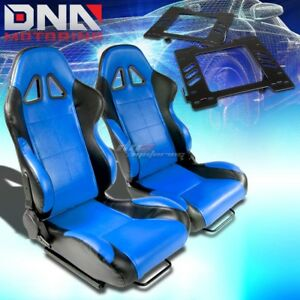 For 99 04 Mustang Sn 95 Bracket t 5 Black Blue Woven Racing Seat Reclinable X2