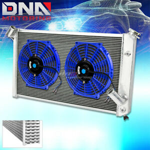 73 76 Chevy Corvette V8 3 Core Row Full Aluminum Racing Radiator 2 X 10 Blue Fan