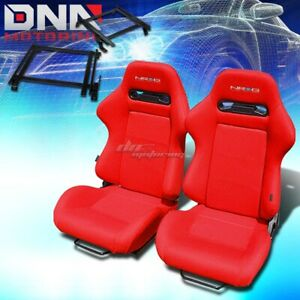 For 90 93 Integra Da Bracket Nrg Type R Red Cloth Racing Seat Reclinable X2