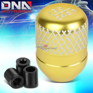 Jdm Universal M8 M10 M12 Racing Manual 6 Speed Gold Netted Aluminum Shift Knob