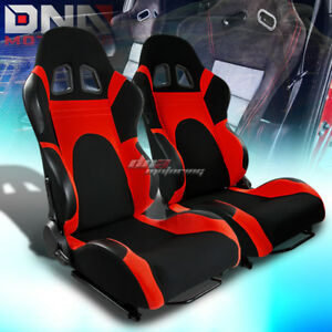 X2 Fully Reclinable Black Red Cloth Upholstery Bucket Racing Seats Sliders Rails