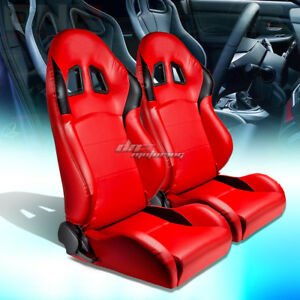 Pair Of Red Black Pvc Leather Full Reclinable Racing Seat Seats Mounting Sliders
