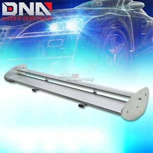 Gt Style 43 Powder Coated Trunk Low Mount Double Deck Racing Spoiler Wing Silver