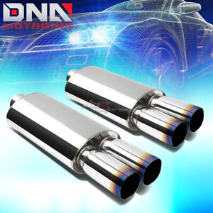 2x 3 inlet 3 dual Square Burnt Tips Performance Stainless Oval Exhaust Muffler