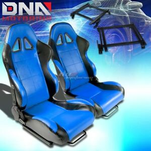 For 02 06 Rsx Dc5 Bracket Type 5 Black Blue Woven Racing Seat Reclinable X2