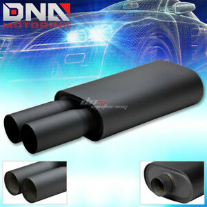 3 Dual Round Tip 2 5 Inlet Oval T304 Black Performance Catback Exhaust Muffler