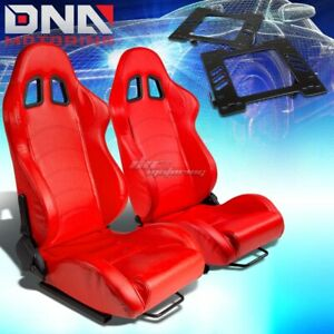 For 99 04 Mustang Sn 95 Bracket type 1 Red Pvc Leather Racing Seat Reclinable X2