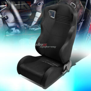 Full Reclinable Black Woven Wide Head Rest Bucket Racing Seat Driver Left Side