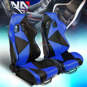Black blue Reclinable Pvc Eather Triangle Design Racing Seat W universal Slider