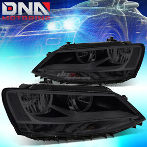 For 11 18 Jetta Halogen Model Smoked Housing Clear Side Headlight Oe Replacement