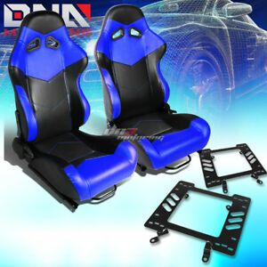Pair Of Black blue Pvc Arrow Design Racing Seat bracket Fit 79 98 Ford Mustang