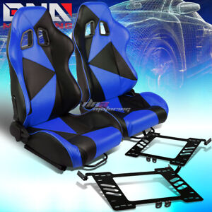 Black Blue Triangle Pattern Racing Seat Bracket Fit 99 05 Vw Golf Jetta Beatle