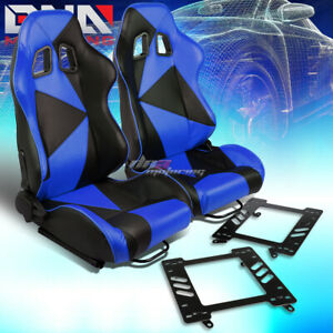 Pair Black Blue Pvc Triangle Pattern Racing Seat Bracket Fit 99 04 Ford Mustang