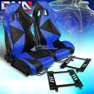 Pair Black blue Pvc Triangle Pattern Racing Seat bracket Fit 92 99 Bmw 3 series