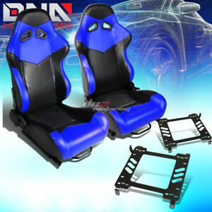 Pair Of Black blue Pvc Arrow Design Racing Seat bracket Fit 05 14 Ford Mustang