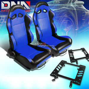 2x Black Pvc Reclinable Blue Center Racing Seat bracket Fit 79 98 Ford Mustang