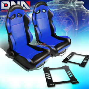2x Black Pvc Reclinable Blue Center Racing Seat bracket Fit 92 99 Bmw 3 series