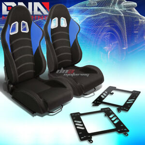 2x Black blue Cloth White Dual Stitch Racing Seat bracket Fit 99 04 Ford Mustang