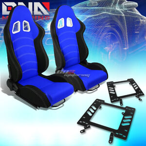 Black Blue Cloth White Double Stitch Racing Seat Bracket Fit 79 98 Ford Mustang