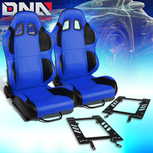 Pair Blue Pvc Reclinable Black Wing Racing Seat bracket Fit 79 98 Ford Mustang