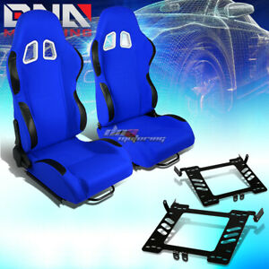 Pair Black Blue Cloth Sport Racing Seat Bracket Fit 99 05 Vw Golf Jetta Beatle