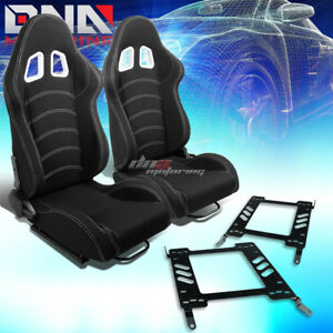Black Cloth Reclinable White Dual Stitch Racing Seat bracket Fit 00 05 Eclipse